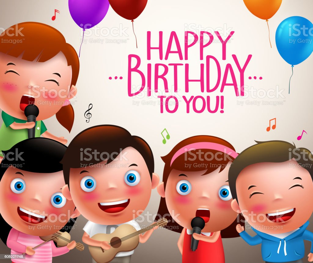 Kids Vector Characters Singing Happy Birthday And Playing Lizenzfreies