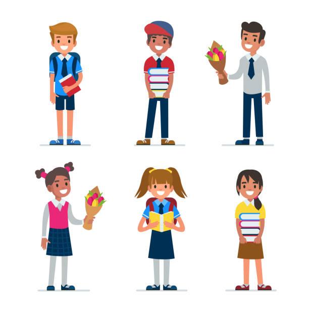 stockillustraties, clipart, cartoons en iconen met kinderen - schooluniform