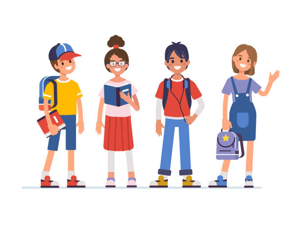kids School kids standing together.  Flat  cartoon style vector illustration isolated on white background. students stock illustrations