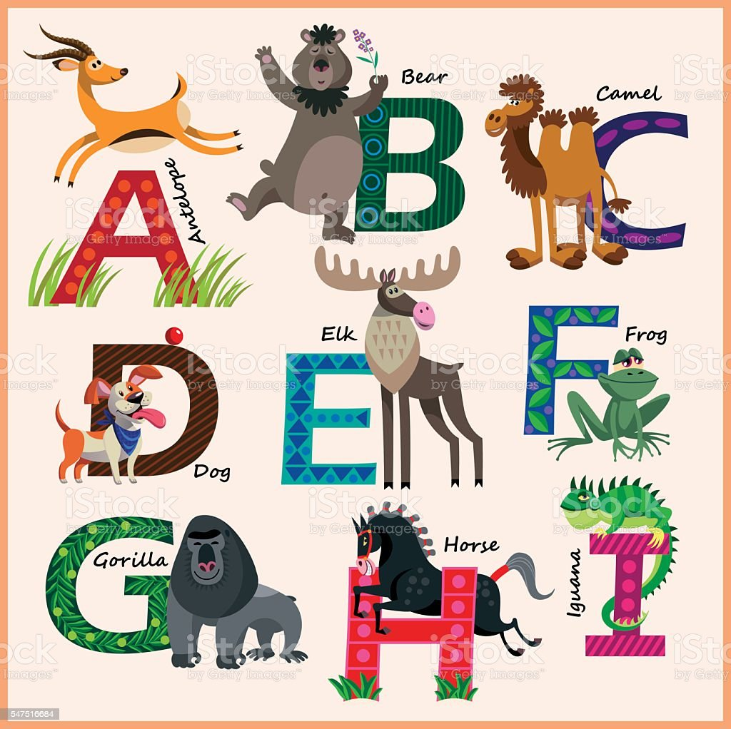 Kids vector Zoo alphabet with animals in cartoon style – Vektorgrafik
