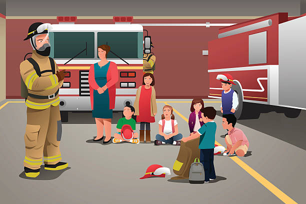 Kids Visiting a Fire Station A vector illustration of school kids visiting a fire station for education concept fire station stock illustrations