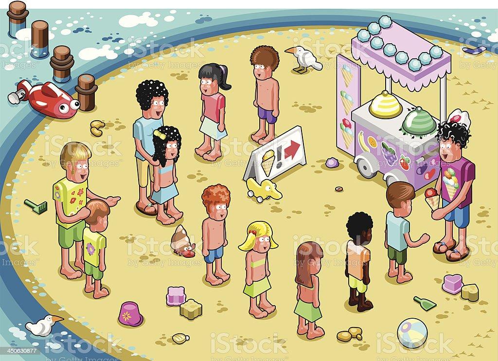 Kids waiting in line for ice cream on beach (vector) vector art illustration