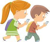 Vector Kids Walking With Smart Phone