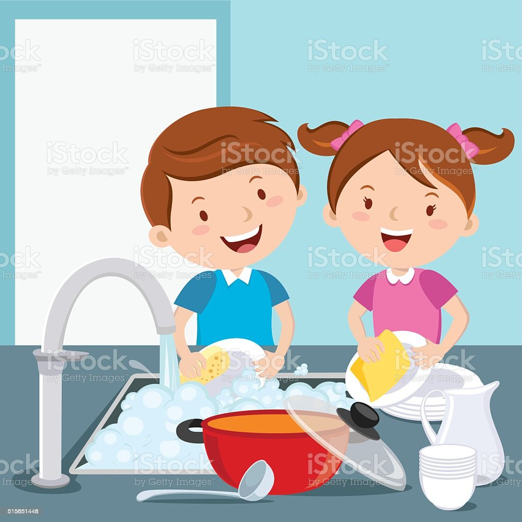 Kids washing dishes vector art illustration