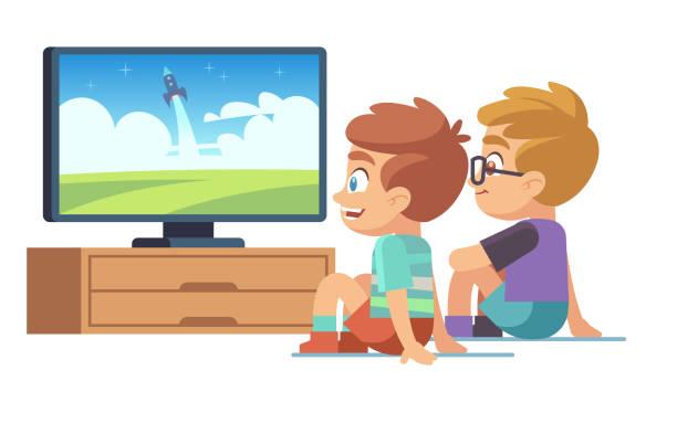 kinder schauen fernsehen. kinder film home junge mädchen sieht tv-set mit bild bildschirm elektrischen monitor zeichentrickfilm vektorkonzept - zusehen stock-grafiken, -clipart, -cartoons und -symbole