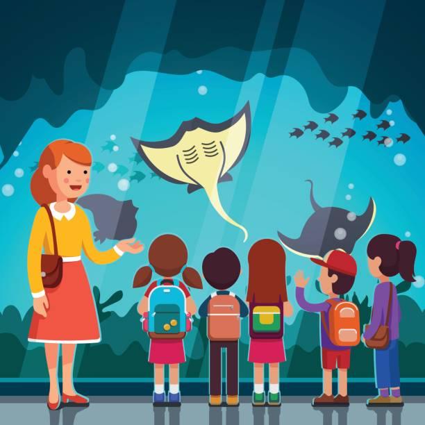 海洋水族館遠足でそれとを見ている子供 - 水族館点のイラスト素材/クリップアート素材/マンガ素材/アイコン素材