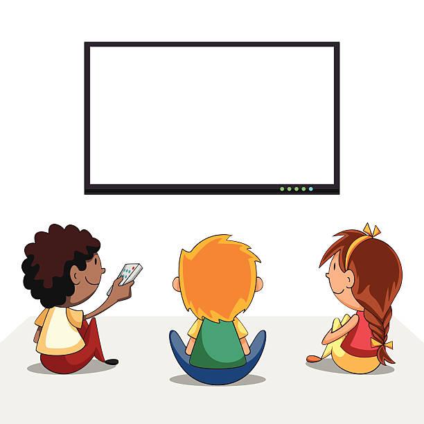 ilustrações de stock, clip art, desenhos animados e ícones de crianças a ver televisão, ecrã negro - tv e familia e ecrã