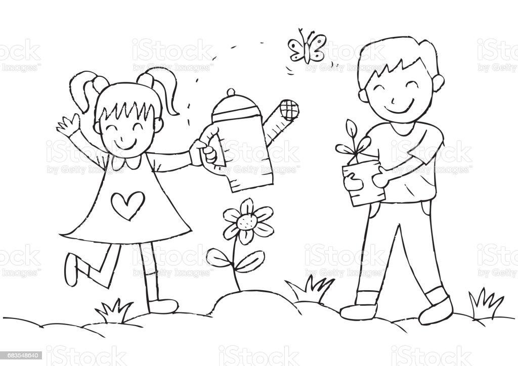 Ilustración De Riego Y Plantación De Plantas En El Jardín De