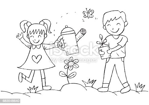 Kids Watering And Planting Plants In The Garden Stock