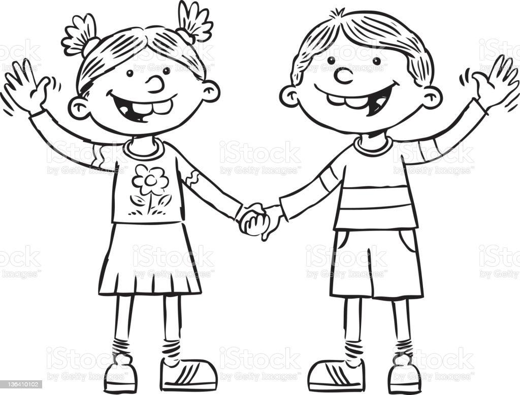 Kinder Winken Stock Vektor Art und mehr Bilder von Comic ...