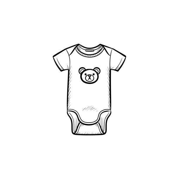 kid es verschleiß handsymbol gezeichneten umriss doodle - catsuit stock-grafiken, -clipart, -cartoons und -symbole