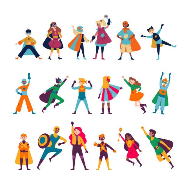 Kinder tragen bunte Kostüme verschiedener Superhelden – Vektorgrafik