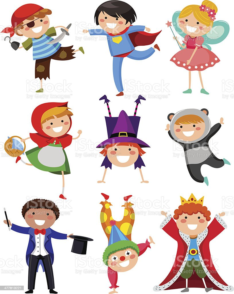 kids wearing costumes vector art illustration