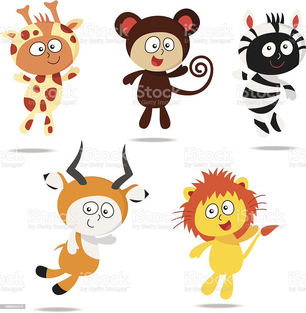 Kids wearing zoo animal costumes royalty-free stock vector art