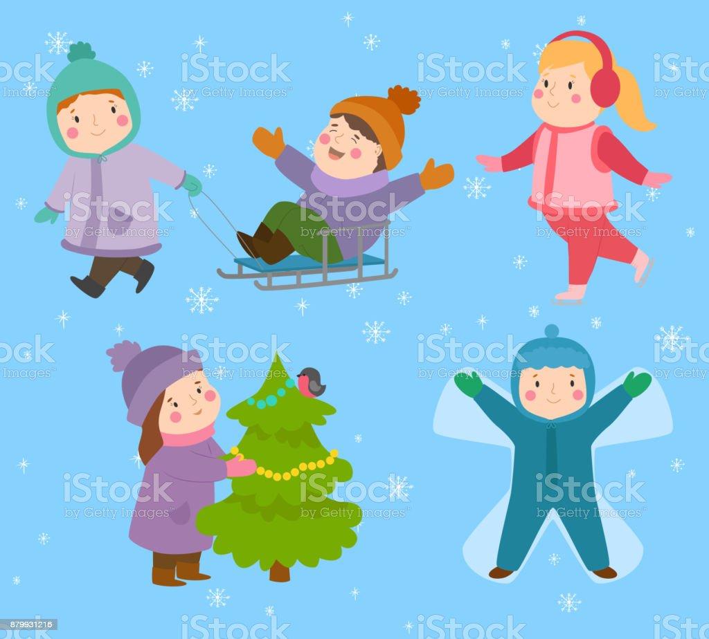 Kinder Winter Weihnachten Spiele Spielplatz Kinder Spielen Sport ...