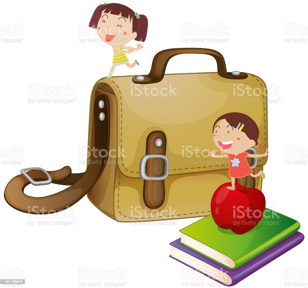 Kids with a school bag royalty-free stock vector art