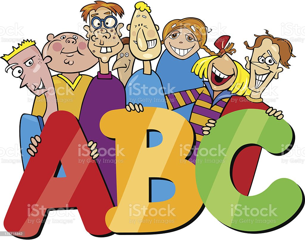 kids with abc letters cartoon royalty-free stock vector art