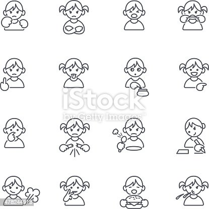 Set of 16 icons in thin lines, Kids with bad habits and behavior. JPG file and EPS10 file.