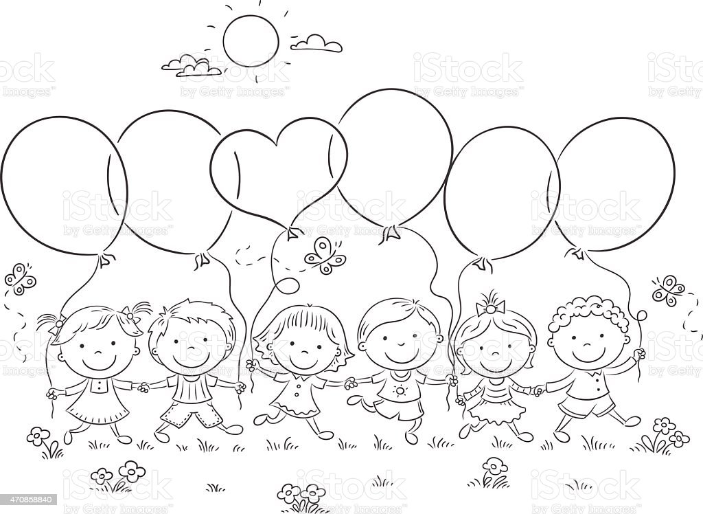 Kids With Balloons Outline Stock Vector Art & More Images