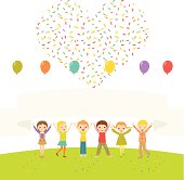 Happy children celebrating with hands up. Banner with copy space. Air balloons and confetti heart.