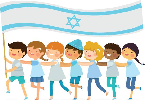 kids with big israeli flag - israel independence day stock illustrations, clip art, cartoons, & icons