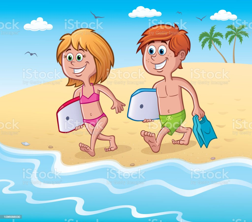 Kids with Bodyboards at the Beach vector art illustration