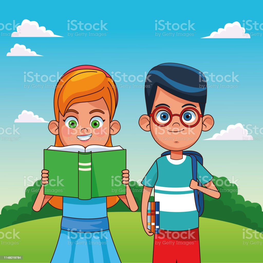 Kids with books in the park cartoons vector illustration graphic...