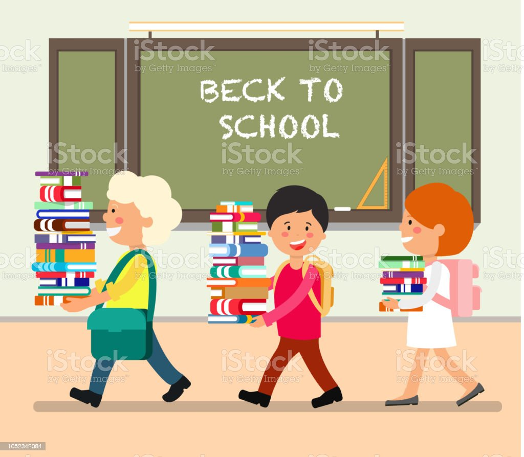 Happy Kids with Books in Classroom. Study at School. Back to School...