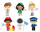 Vector illustration of kids with different professions. Children and future careers including doctor, artist, chef, firefighter, astronaut, pilot.