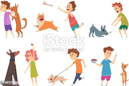 Kids with dogs. Happy children playing hugging their funny pets vector cartoon puppy dog domestic animals. Girl and boy with puppy, person child cheerful playing with happy pet illustration