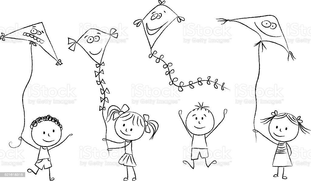 Ilustración de Niños Con Volando Cometas y más banco de imágenes de ...