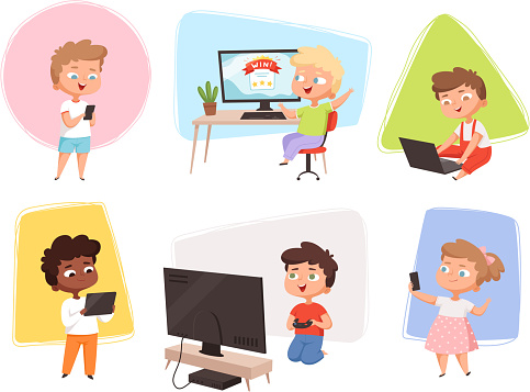 Kids with gadgets. Future technology children using laptop smartphone pc and electronic tablet vector cartoon illustrations