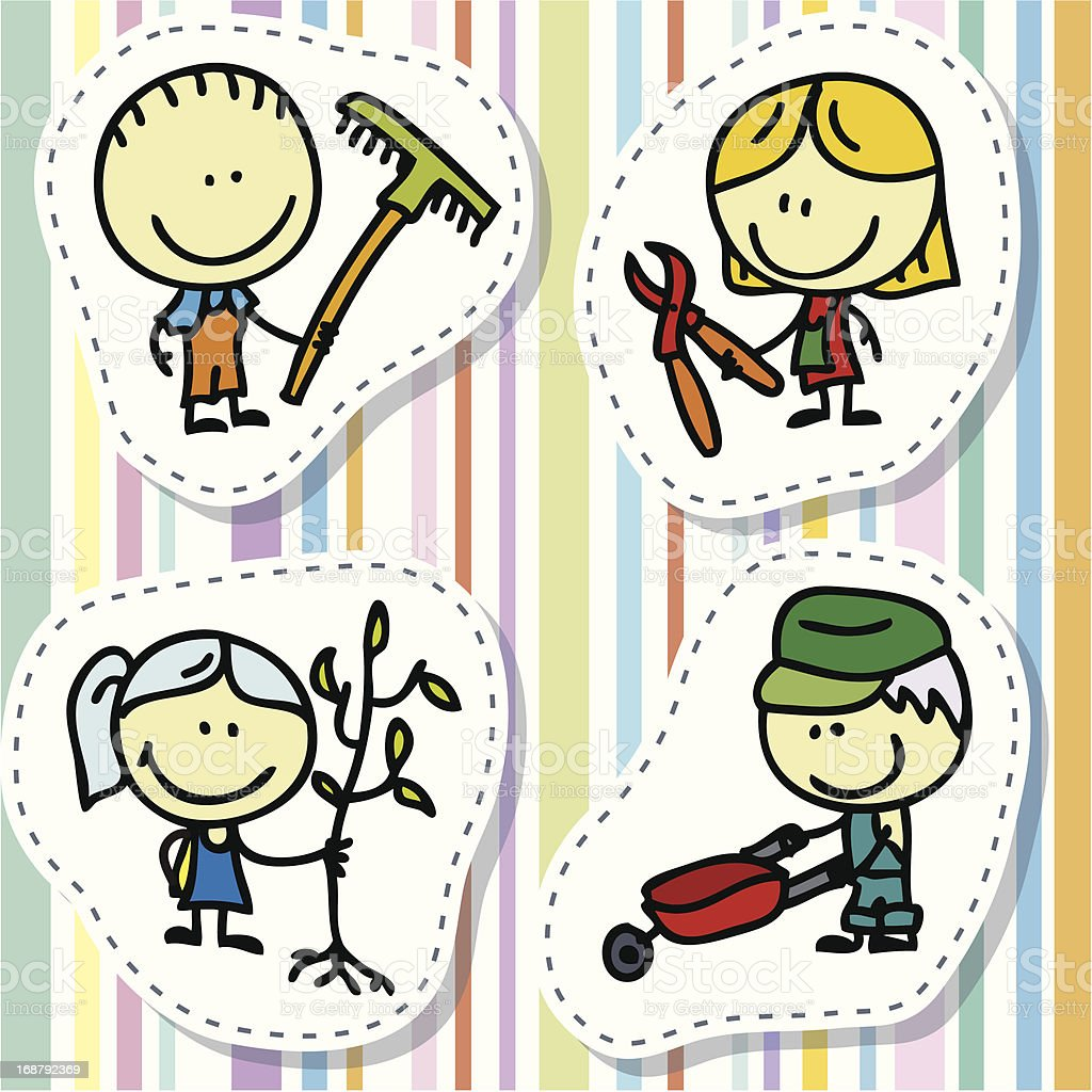 Kids with garden tools royalty-free stock vector art