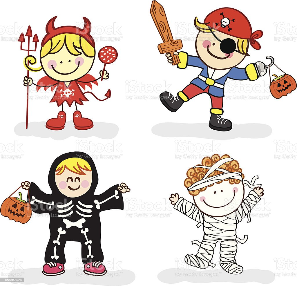 Kids with halloween costume cartoon illustration stock - Dessin costume ...