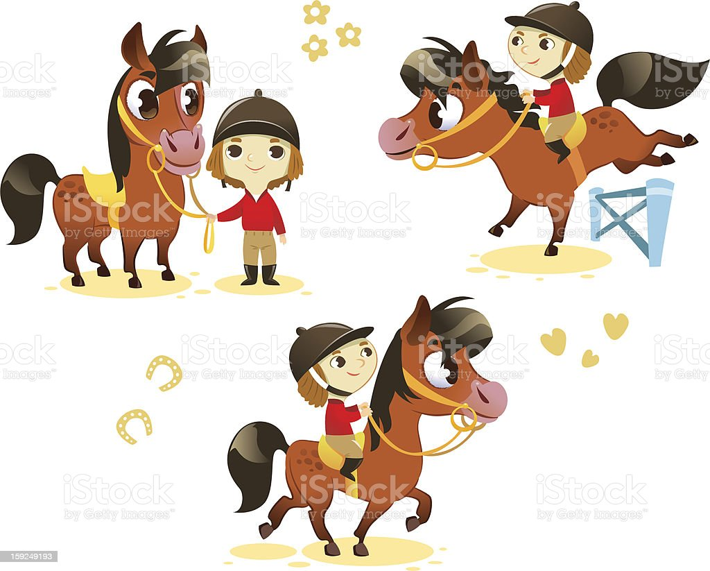 Kids with horses vector art illustration