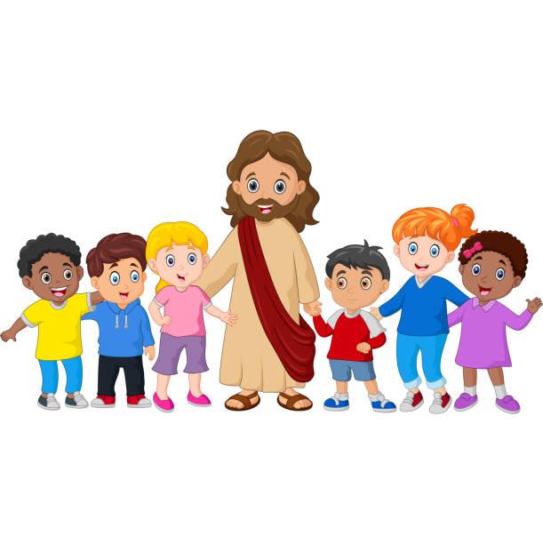 illustrations, cliparts, dessins animés et icônes de enfants avec jésus christ - famille avec enfants