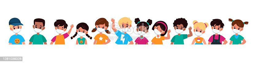 istock Kids with mask. Children in medical masks for protect disease, flu, smog and covid-19. Multiethnic group boys and girls stop spread viruses beware epidemic cartoon flat vector illustration 1281036028