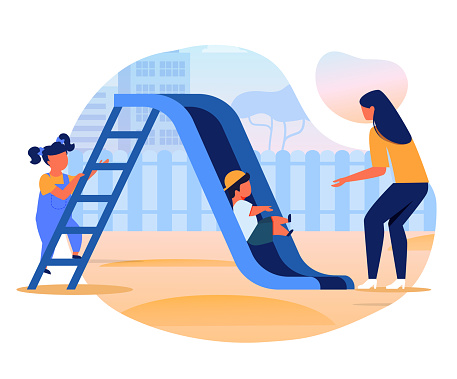 Kids with Mom on Slide Flat Vector Illustration