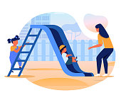 Kids with Mom on Slide Flat Vector Illustration. Little Girl, Boy and Young Woman Cartoon Characters. Mother, Adult Babysitter Playing with Children on Playground. Outdoor Games, Babysitting
