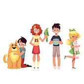 Kids with pets - dog, cat, parrot and golden fish in aquarium, cartoon vector illustration isolated on white background. Set of children with their pets like dog, cat, parrot and golden fish