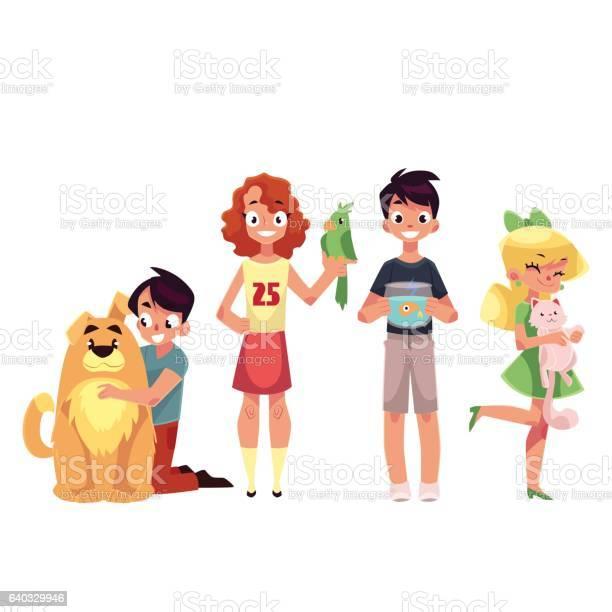 Kids with pets dog cat parrot and golden fish vector id640329946?b=1&k=6&m=640329946&s=612x612&h=17ki kc8sbep0yesry4i904vikzxkzsdazdtdsjpsi0=