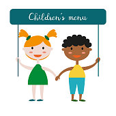"Kids with poster ""Children's Menu"" on white background. Vector illustration."