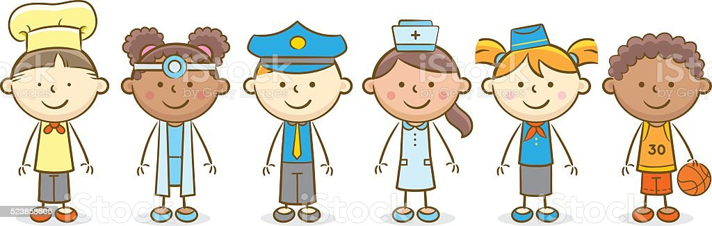 Kids With Profession vector art illustration