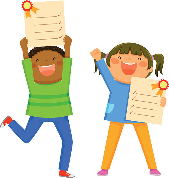 kids with report cards vector art illustration