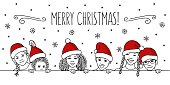 Merry Christmas! - Hand drawn ink illustration of diverse children with red santa hats peeking behind a horizontal line, greeting card template