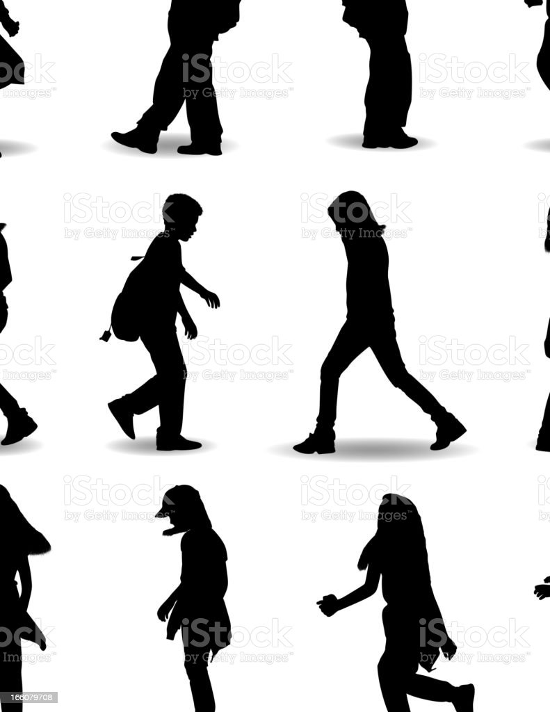 Kids with school bags silhouette vector art illustration