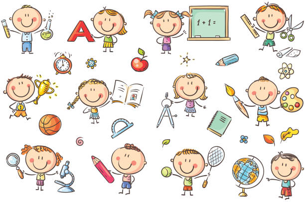 Kids with School Things vector art illustration