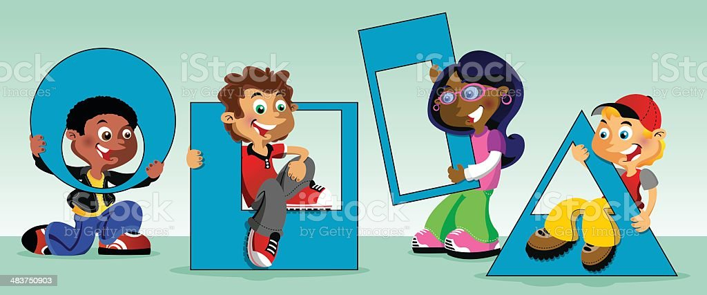 Kids with shapes vector art illustration