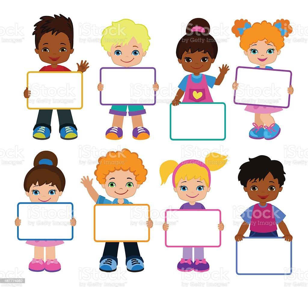 Kids With Signs Bricht Kids Frame Board Clipart Child ...