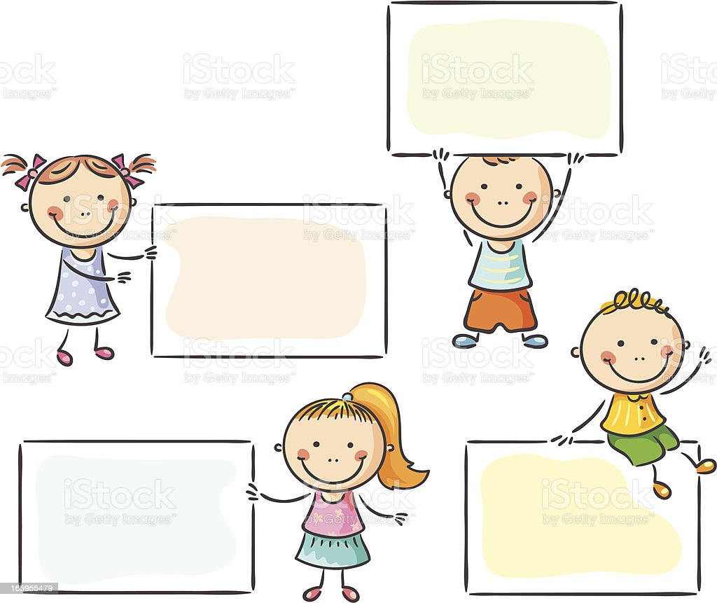 Kids with signs royalty-free stock vector art